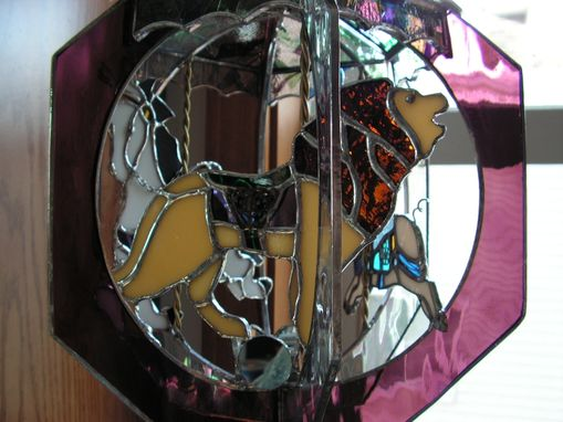 Custom Made Animal Stained Glass Carousel With Music Button