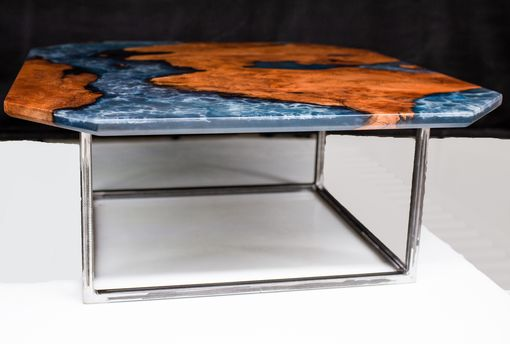 Custom Made Redwood And Blue Epoxy Coffee Table With Powder Coated Steel Base
