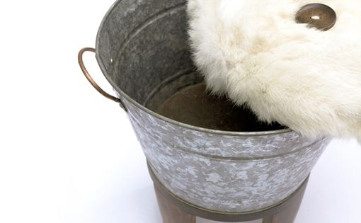 Hand Made Upcycled Metal Bucket Ottoman With Fur Top By