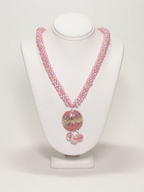 Custom Made Atlantic Sunrise Kumihimo Necklace With Pink/Peach Lampwork Pendant