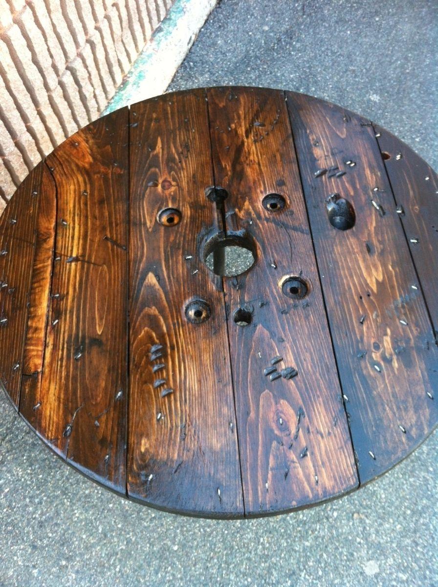 hand made upcycled spool coffee tablejbjunk market