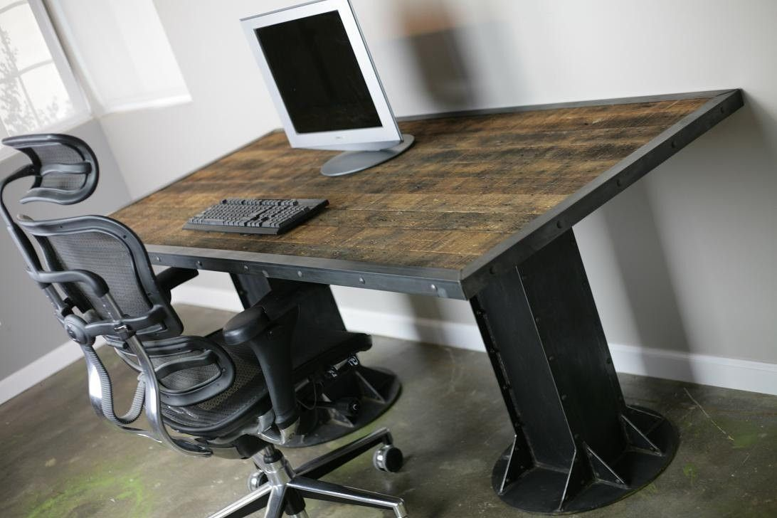 Buy a hand made modern industrial desk vintage modern custom sizes configurations dining - Metal office desk ...