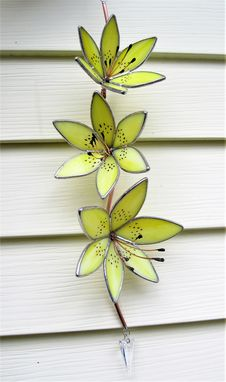 Custom Made Yellow Tiger Lily 3d Stained Glass Sun Catcher With Swarovski Crystal