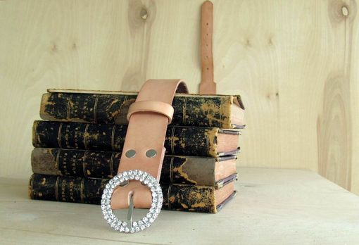 Custom Made Leather Belt, Blonde With Swarovsky Buckle