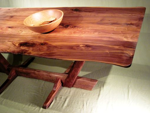 Custom Made Black Walnut Live Edge Canted Trestle Dining Table