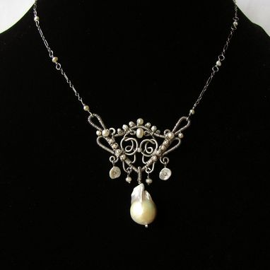 Custom Made Sterling Silver And Pearls Featuring Large Flameball Pearl Necklace, Victorian Inspired