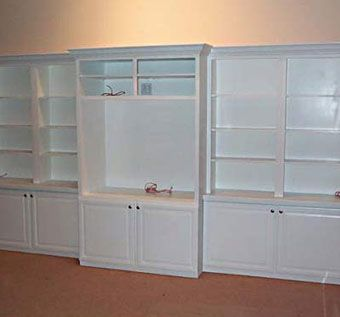 Custom Made Custom Entertainment Center Painted In White Lacquer