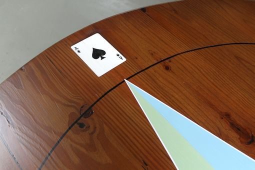 "Custom Made Custom Hand Painted Poker Table, Painted On 60"" Round Farm Table"