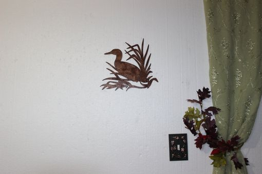 Custom Made Duck In Reeds On Sawblade Metal Wall Art Country Rustic Hunting Home Decor