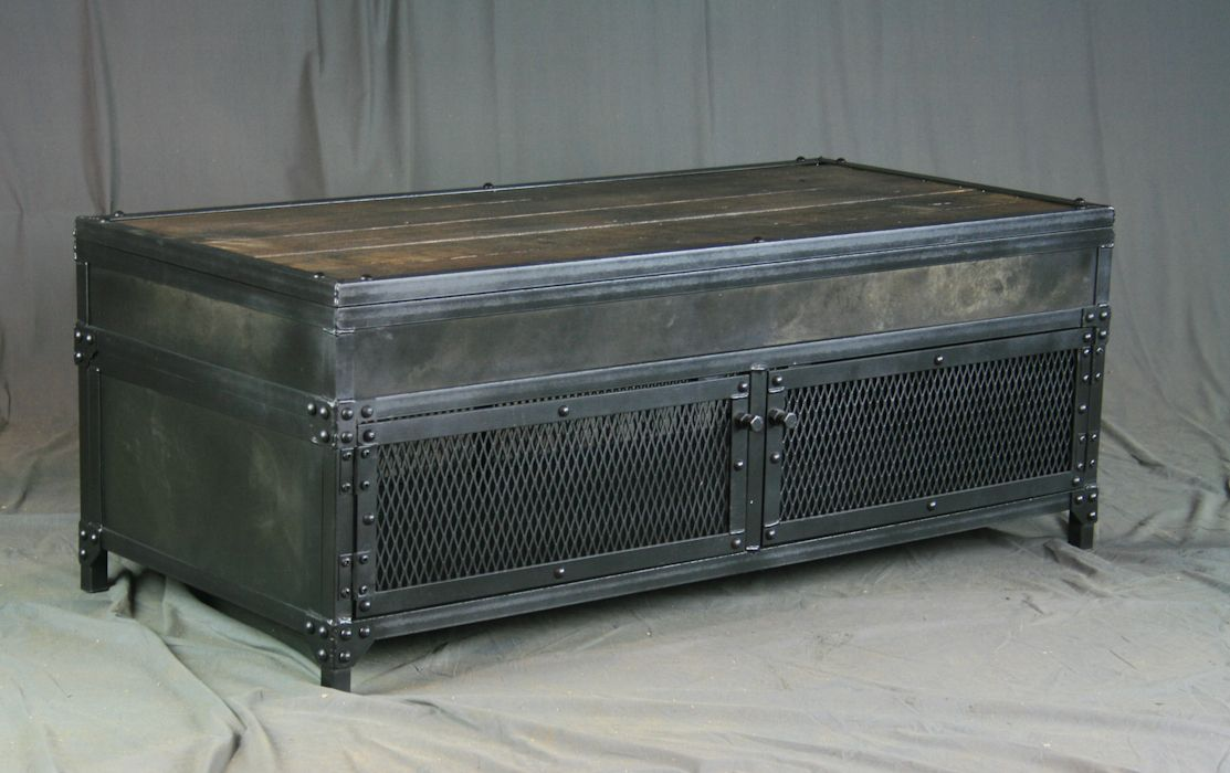 Buy a hand made vintage industrial lift top coffee table reclaimed wood steel metal patina Industrial metal coffee table