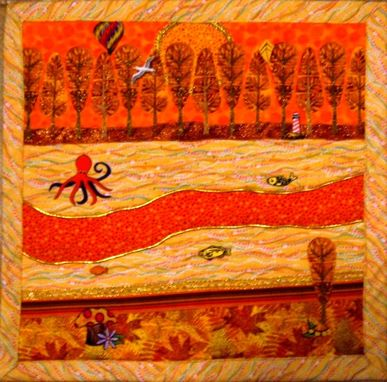 "Custom Made Quilted Landscape Wall Hanging - ""Little Autumn"""