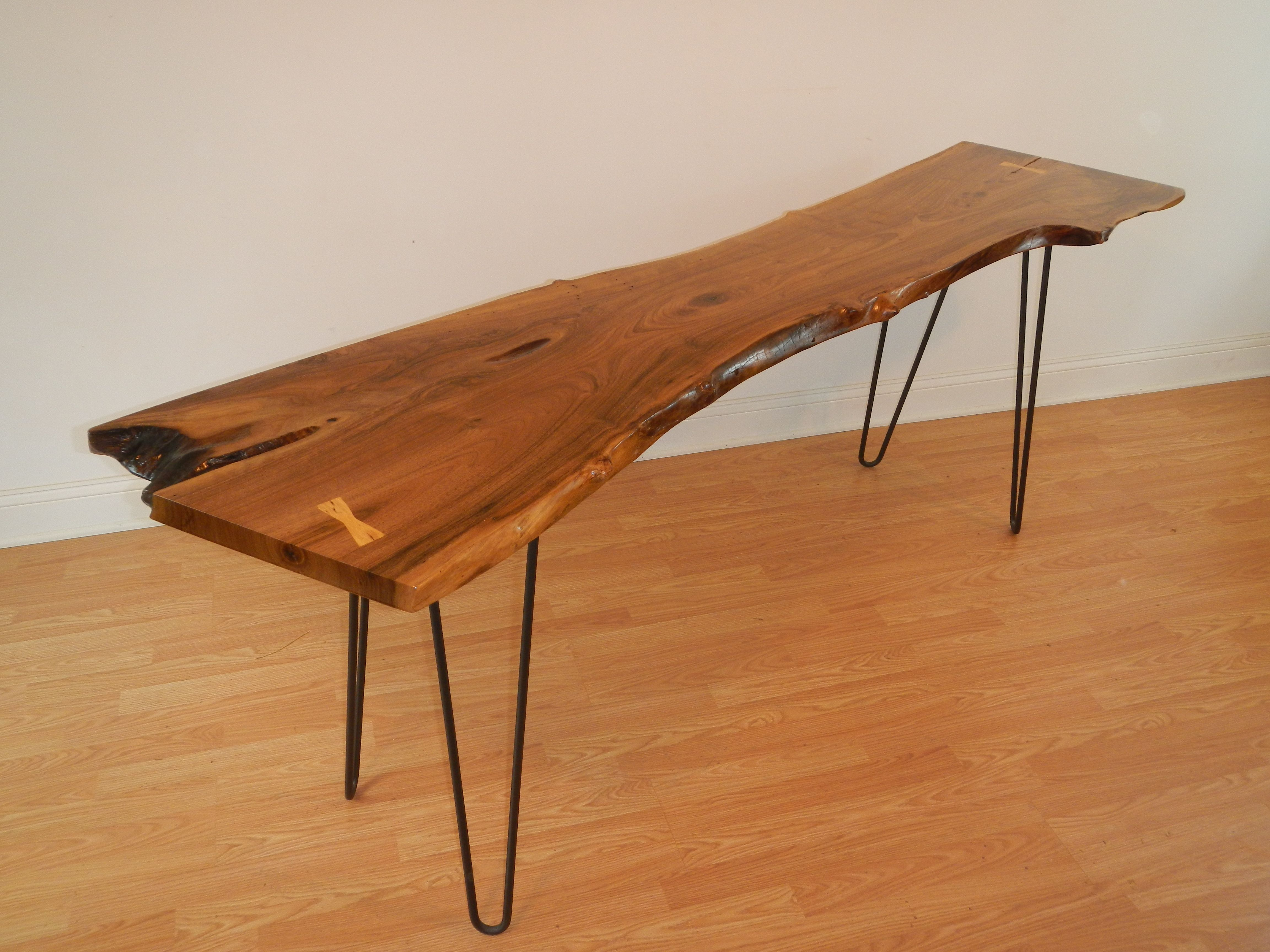Custom Live Edge Black Walnut Console Table With Hairpin