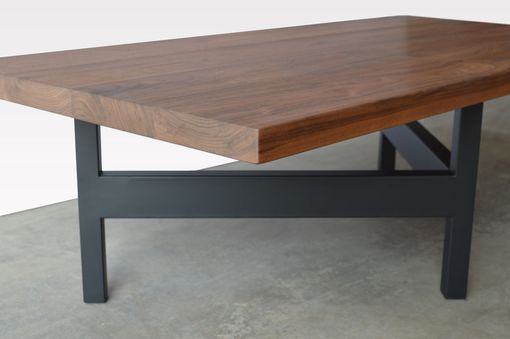 Custom Made Walnut Wood And Black Steel Coffee Table