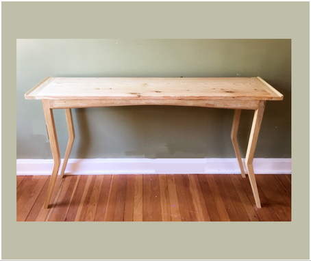 Custom Made Mid Century Modern Reclaimed Bleached Oak Console Table