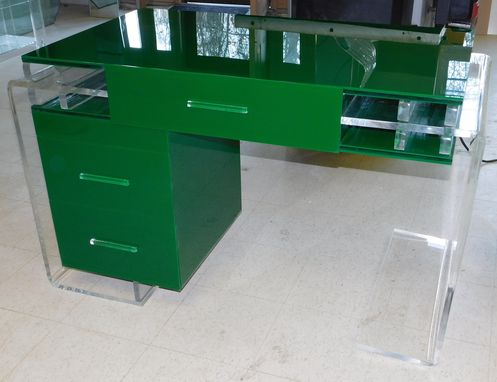 Custom Made Acrylic Waterfall Edge Desk With Drawers - Hand Crafted, Custom Made