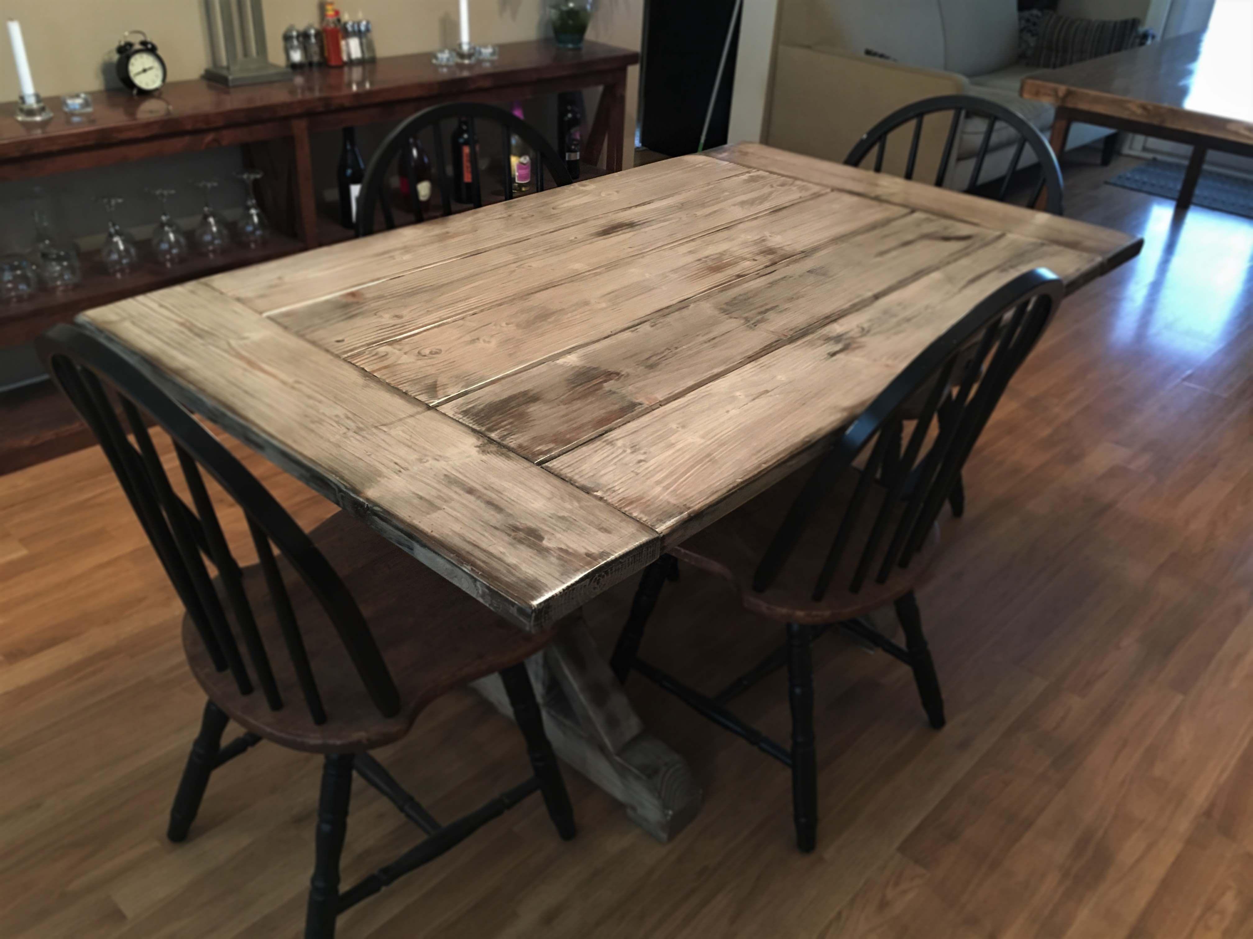 Hand Made Distressed Wood IndoorOutdoor Farmhouse Table W Trestle - Farm table trestle base