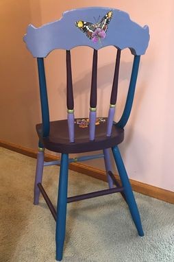 Custom Made Vintage Chair Painted With Pansies