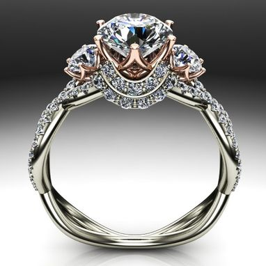 Custom Made Two Tone Diamond Solitaire Braided Design Engagement Ring