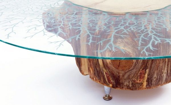 Hand Crafted Etched Gl Stump Coffee Table By Jennifer