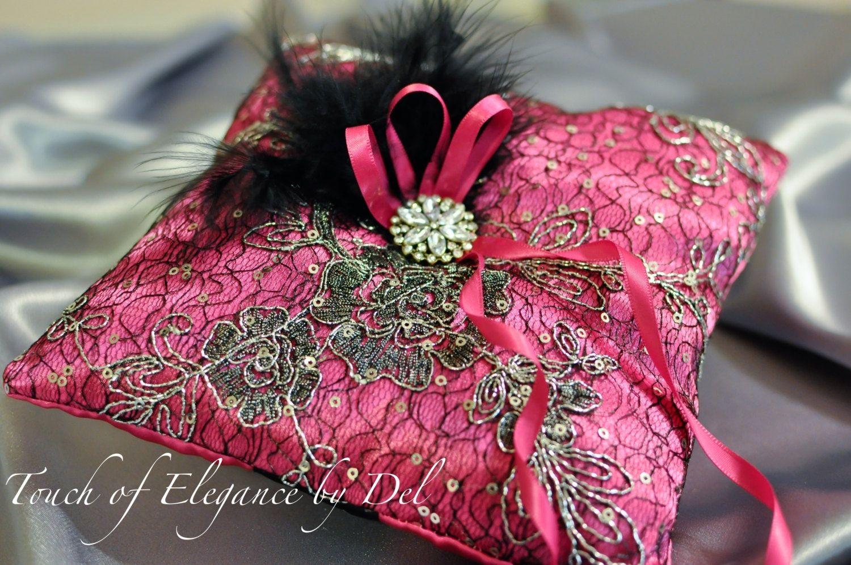 Handmade Ring Bearer Pillow / Wedding Pillow - Hot Pink Satin Silk ...