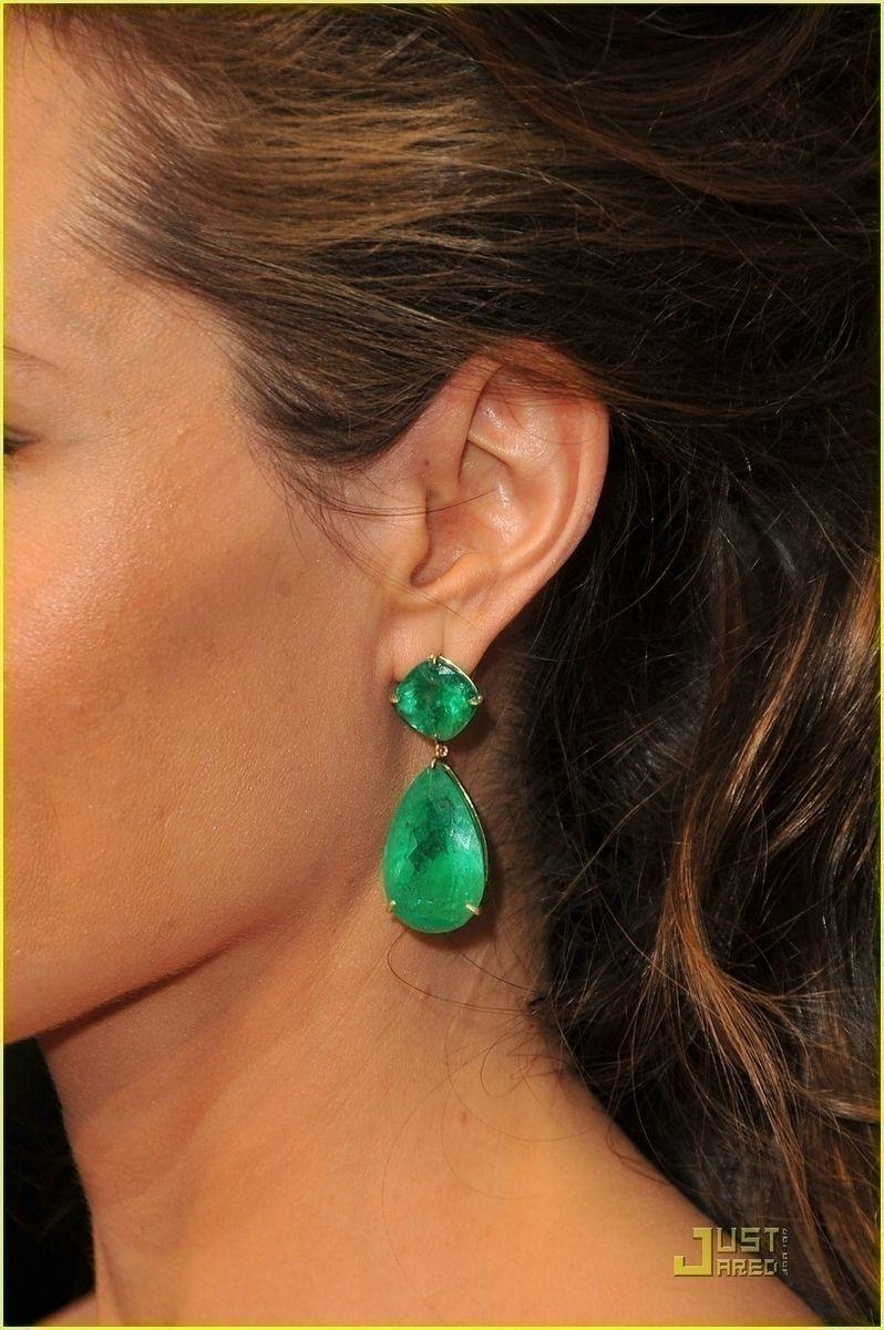 Custom Made Emerald Green Earrings Large Inspired By Angelina Jolie