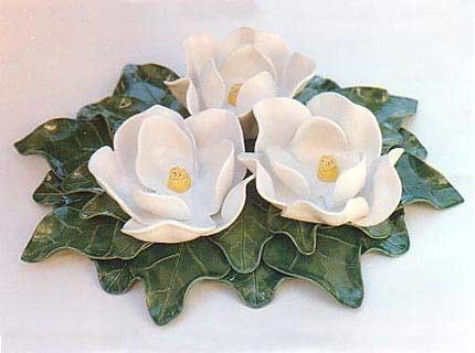 Custom Made Three Magnolia Flower Centerpiece