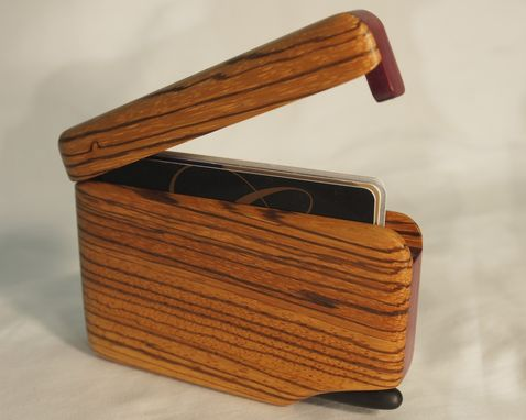 Custom Made Wood Wallet And Business Card Case