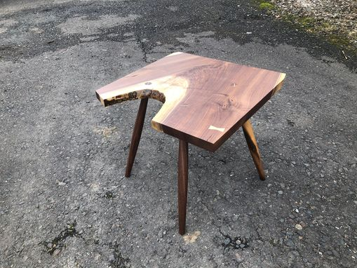 Custom Made Midcentury Live Edge Walnut Side Table