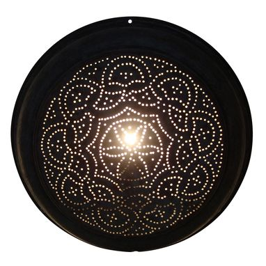 Custom Made Copper Sconce With Circle Pattern