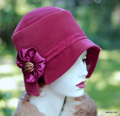 Custom Made Fall Winter Womens Cloche Hat 1920s Style In Maroon Wool