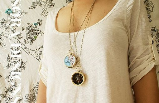 Custom Made Personalized Compass Map Necklace