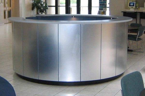 Hand Made Brushed Aluminum Circular Reception Desk By Yb