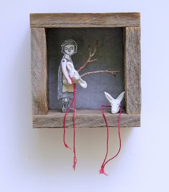 Custom Made Fiber Art Mixed Media Barnwood Diorama -  Girl With Masks