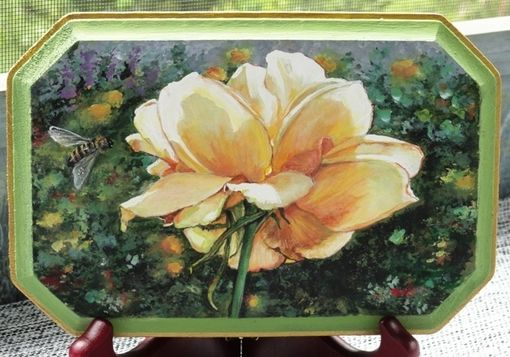 Custom Made Hyper-Realistic Yellow Rose Painted On Wood