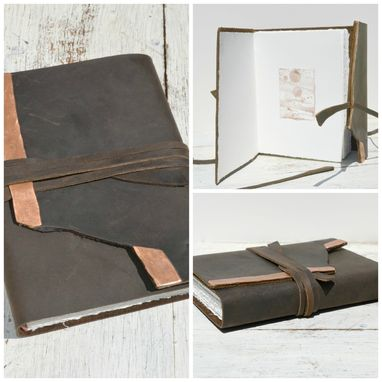 Custom Made Leather Bound Handmade Travel Watercolor Art Journal Notebook
