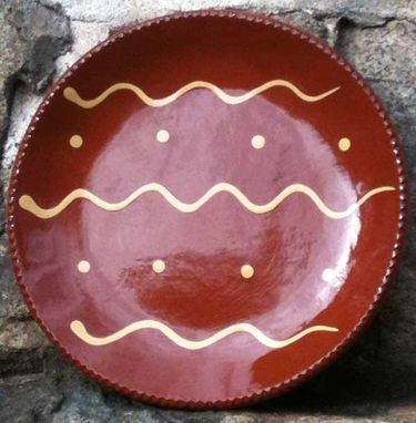 Custom Made Slipware Ceramics, Red With White Lines