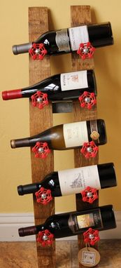 Custom Made Wine Stave 5 Bottle Wine Rack