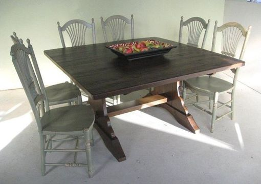 Custom Made Square Trestle Dining Farm Table