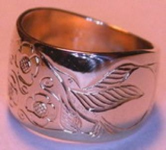 Custom Made Hummingbird, Flowers And Diamond Ring