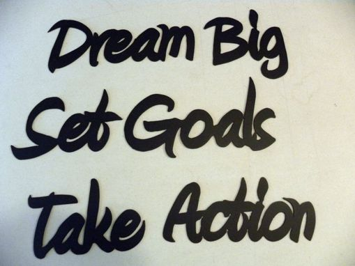 Custom Made Motivational Words: Dream Big Set Goals Take Action Positive Affirmations Metal Wall Art