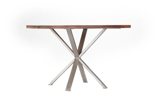 Custom Made Modern Industrial Round Dining Table, Solid Walnut, Crossed X Steel Base
