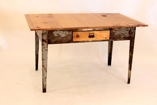Custom Made #Dk-04  Antique Desk With Metal Legged Factory Table Base & 1 Drawer