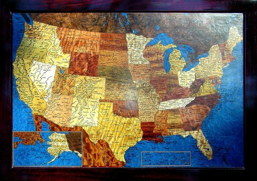 "Custom Made Wooden Map Of The Usa  24"" X 34"""