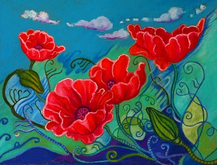 Hand Crafted Custom 9 X 12 Oil Pastel Flower Painting Lively Flowers By Dogs In