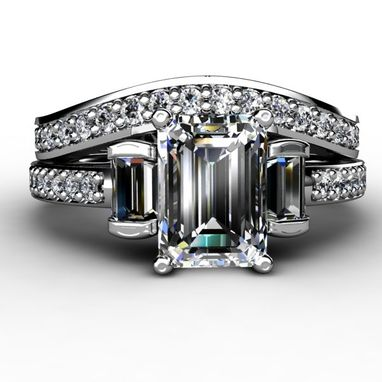 Custom Made Emerald Cut Diamond Three Stone Ring With Diamond Accents And Diamond Wedding Band