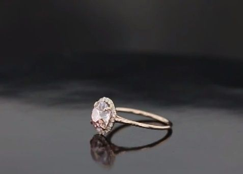 Custom Made Petite Flower Halo Engagement Ring