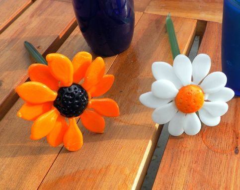 Custom Made Set Of Two Long-Stemmed Glass Daisies