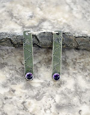 Custom Made Dancing Dragonflies Sterling Silver Earrings With Amethyst Cabochons