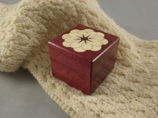 Custom Made Solid Purple Heard Ring With Inlaid Flower.  Rb-38