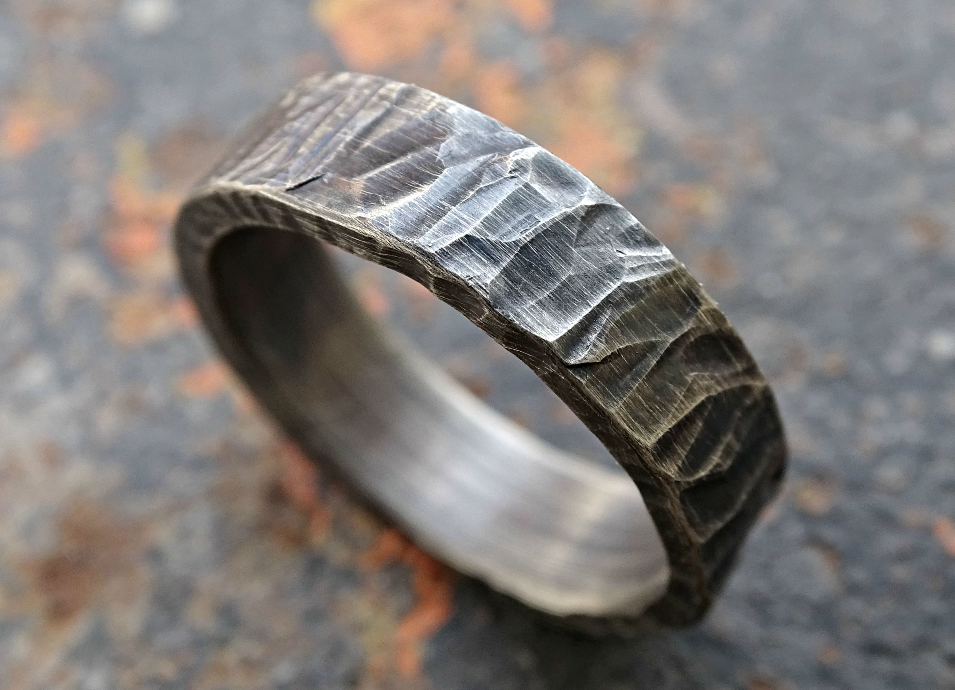 buy a hand crafted rugged silver wedding band, cool mens ring